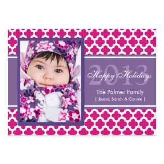 Carte plate Quatrefoil de vacances pourpres roses  Cartons D'invitation