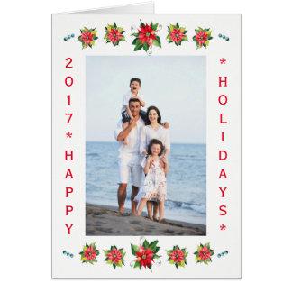 Carte pliée par vacances Poinsettia-Verticales
