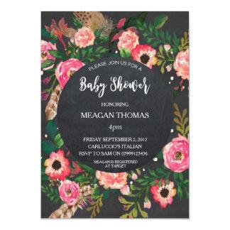 Carte Plume moderne florale de tableau de baby shower