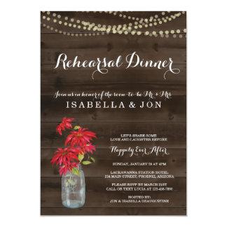 Carte Poinsettia de Noël de l'invitation | de dîner de