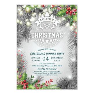 Carte Poinsettia de pin de dîner de Noël et de nouvelle