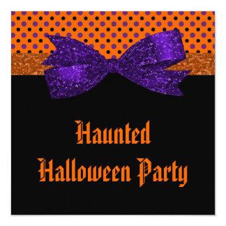 Carte Point de polka Halloween noir pourpre orange