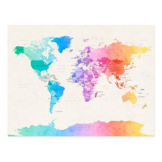 Carte politique pour aquarelle du monde