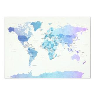 Carte politique pour aquarelle du monde carton d'invitation  12,7 cm x 17,78 cm