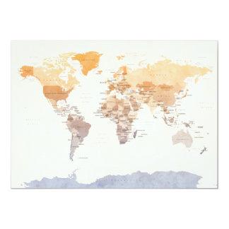 Carte politique pour aquarelle du monde invitation personnalisée