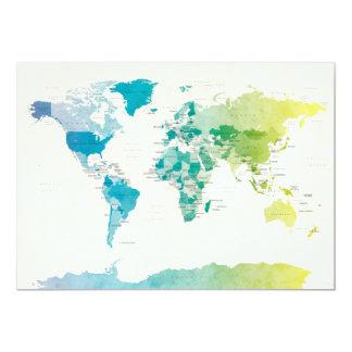 Carte politique pour aquarelle du monde invitation personnalisable