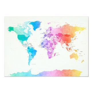 Carte politique pour aquarelle du monde faire-parts