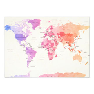 Carte politique pour aquarelle du monde invitations personnalisées