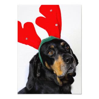 Carte Portrait de chien de Coonhound, andouillers rouges