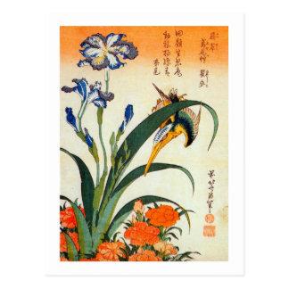 Carte Postale アヤメにカワセミ, iris de 北斎 et martin-pêcheur, Hokusai,