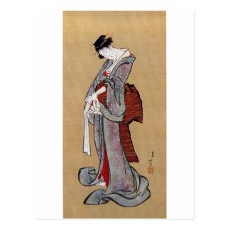 Carte Postale 女, femme de 北斎, Hokusai, Ukiyo-e