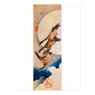 Carte Postale 月に雁, lune de 広重 et oie sauvage, Hiroshige, Ukiyo-e