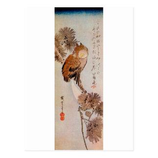 Carte Postale 月夜のみみずく, hibou de clair de lune de 広重, Hiroshige,
