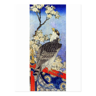Carte Postale 桜にハヤブサ, faucon et fleurs de cerisier, Hokusai,