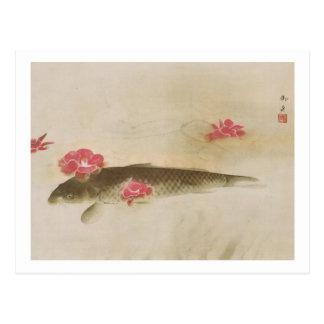 Carte Postale 椿と鯉, camélia de 速水御舟 et carpe, Gyoshū