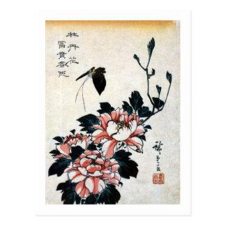 Carte Postale 牡丹に蝶, pivoines de 広重 et papillon, Hiroshige,