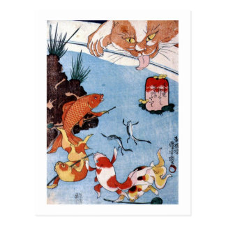 Carte Postale 猫と金魚, chat de 国芳 et poisson rouge, Kuniyoshi,