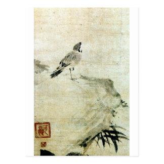 Carte Postale 竹と雀, moineau de 可翁 et bambou (détail), Kao