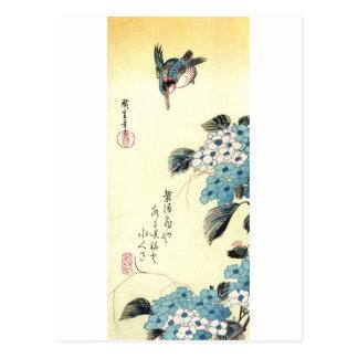 Carte Postale 紫陽花にカワセミ, hortensia de 広重 et martin-pêcheur,