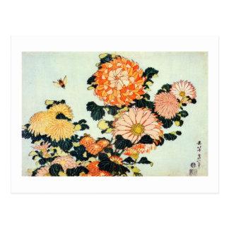 Carte Postale 菊と蜂, chrysanthème de 北斎 et abeille, Hokusai