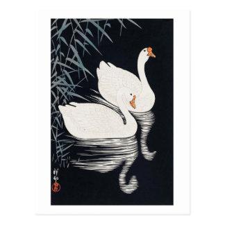 Carte Postale 葦にガチョウ, oie blanche de 古邨, Koson, Ukiyo-e