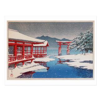 Carte Postale 雪の宮島, tombeau de Miyajima dans la neige, Hasui