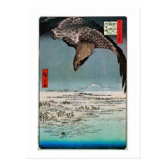 Carte Postale 鷲と雪景色, 広重 Eagle et scène de neige, Hiroshige