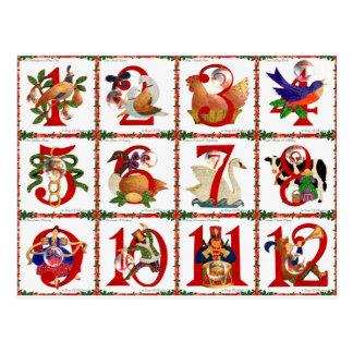 Carte Postale 12 jours de cadeaux d'impression d'édredon de Noël