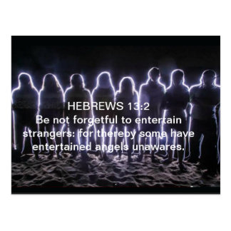 CARTE POSTALE 13:2 D'HÉBREUX AMUSANT DES ANGES
