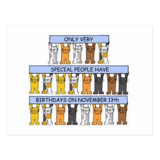 Carte Postale 13 novembre chats d'anniversaire