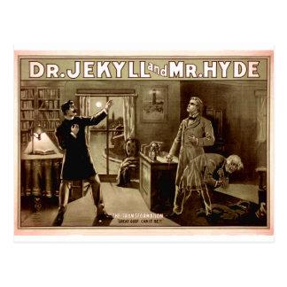 Carte Postale 1880s de Dr. Jekyll et de M. Hyde Vintage