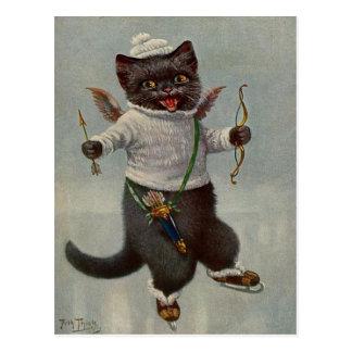 Carte postale 1900's tôt de patinage de cru de