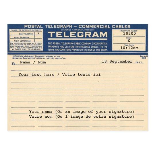 Carte Postale 1920 Postal Telegram (Postcard)