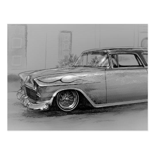Carte Postale 1955 custom chevrolet wagon