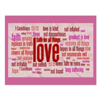 Carte Postale 1 13:1 de Corinthiens - tissu de 13 coeurs