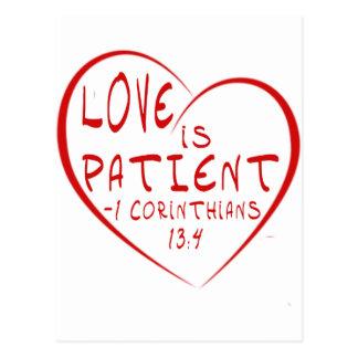Carte Postale 1 amour de 13:4 de Corinthiens est patient