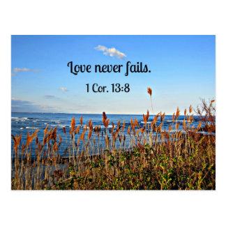 Carte Postale 1 amour de 13:8 de Corinthiens ne tombe jamais en