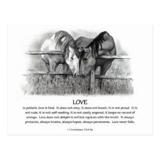 Carte Postale 1 Corinthiens 13 : Amour, chevaux au crayon
