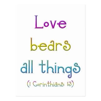 Carte Postale 1 Corinthiens 13 - l'amour soutient toutes les