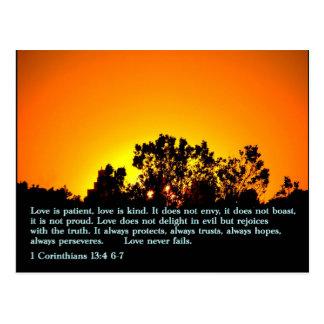 Carte Postale 1 coucher du soleil du 13:4 6-7 de Corinthiens