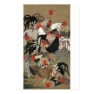 Carte Postale 20. 群鶏図, troupeau de 若冲 des coqs, Jakuchu