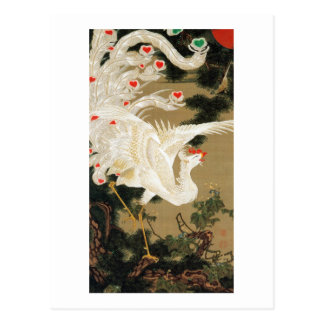 Carte Postale 25. 老松白鳳図, pin de 若冲 et Phoenix, Jakuchu