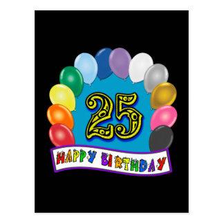 Carte Postale 25ème Cadeaux d'anniversaire avec la conception