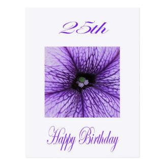 Carte Postale 25ème fleur heureuse de pourpre d'anniversaire