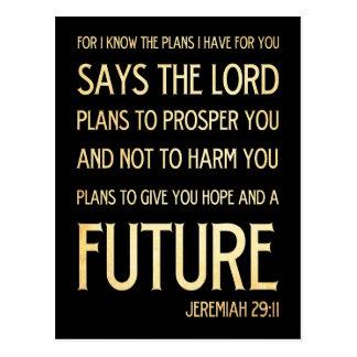 Carte Postale 29:11 chrétien de Jérémie d'art de vers de bible