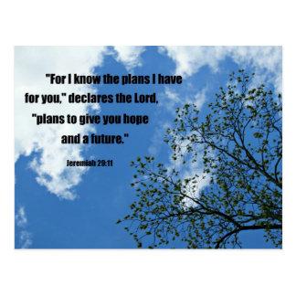 Carte Postale 29:11 de Jérémie pour moi sais les plans que je