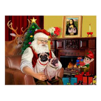 Carte Postale 2 carlins de Père Noël (f+B)