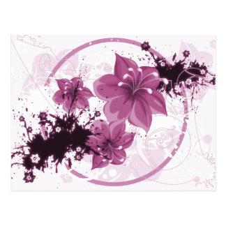 Carte Postale 3 jolies fleurs - rose