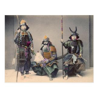 Carte Postale 3 samouraïs en photo de cru d'armure