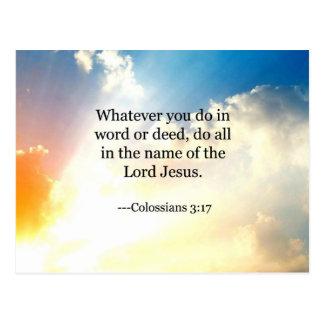 Carte Postale 3h17 de Colossian, écriture sainte chrétienne de